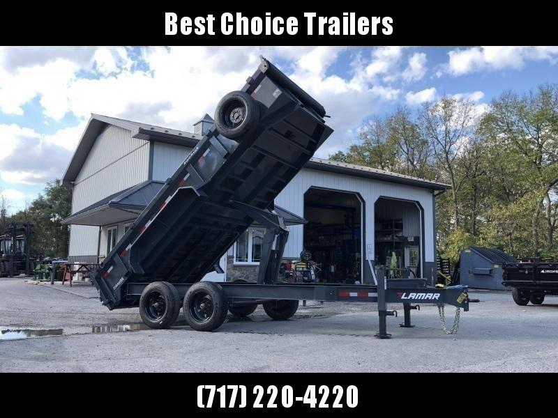 "2019 Lamar 7x16' Dump Trailer 16000# GVW * 8K AXLE UPGRADE * TARP * RAMPS * DUAL 12K JACKS * 17.5"" RUBBER * SPARE * REAR SUPPORT STANDS * OIL BATH * CHARCOAL"