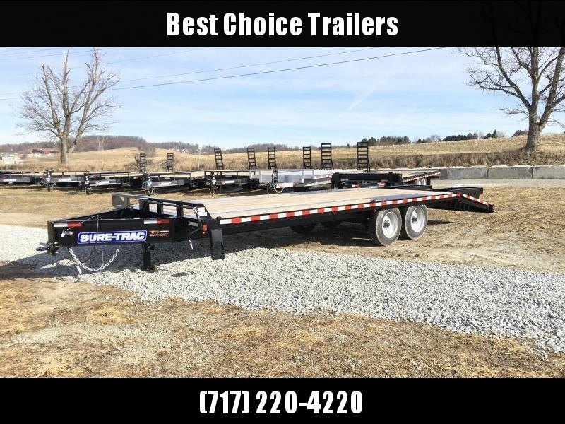 "2019 Sure-Trac 102""x20+5' LowPro Beavertail Deckover Trailer 17600# GVW - PIERCED FRAME * FULL WIDTH RAMPS"
