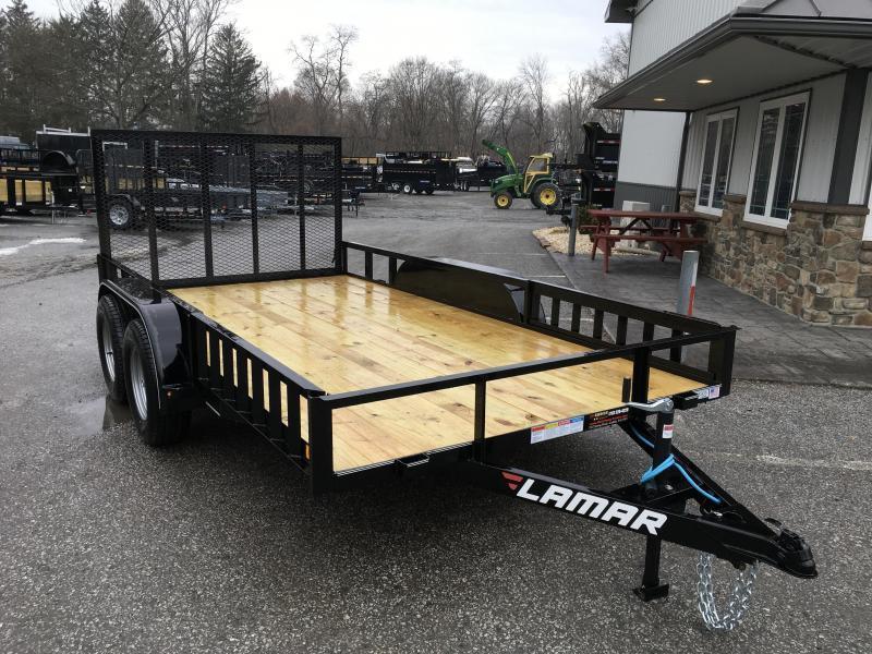 2019 Lamar 7x16' ATV Utility Trailer 7000# GVW ATV SIDE RAMPS * 7' WIDTH * CHARCOAL * ADJUSTABLE COUPLER