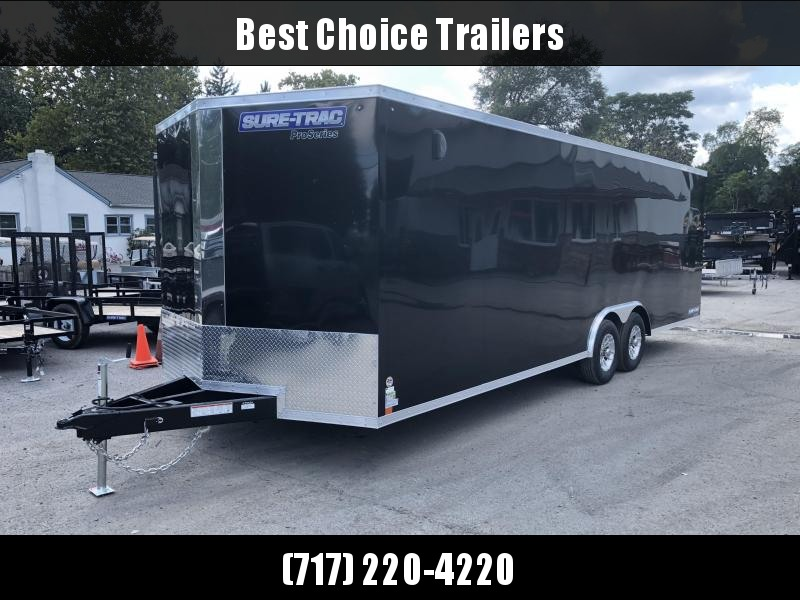 2019 Sure-Trac 8.5x24' 9900# STWCH Commercial Enclosed Cargo Trailer * V-NOSE * RAMP DOOR * BLACK * ALUMINUM WHEELS
