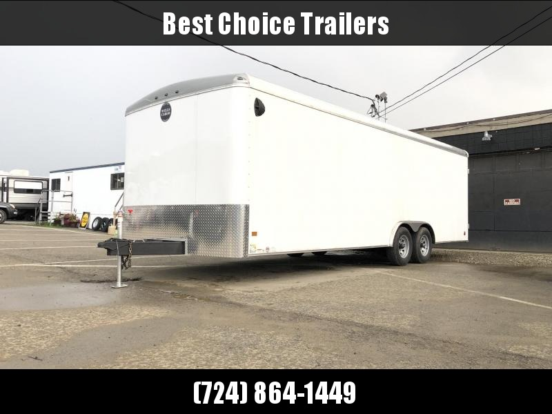 2019 Wells Cargo 8.5x24' RoadForce Enclosed Car Trailer 9990# GVW * WHITE * RAMP DOOR * ROUND TOP * SCREWLESS