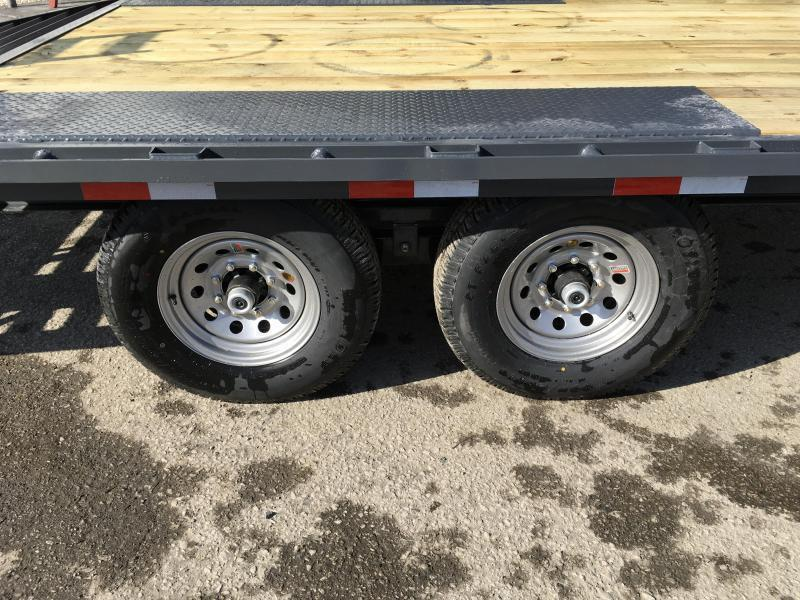 2019 Lamar F8 102x22' Beavertail Deckover Trailer 14000# GVW * STAND UP RAMPS  * CHARCOAL