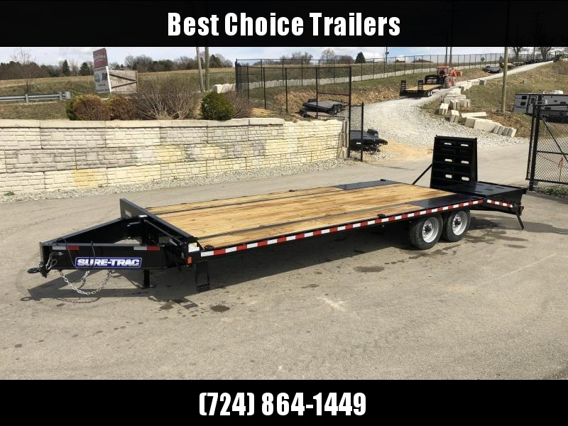 "2019 Sure-Trac 102""x20+5' LowPro Beavertail Deckover Trailer 17600# GVW * 8000# AXLES * PIERCED FRAME * FULL WIDTH RAMPS * 12"" I-BEAM"