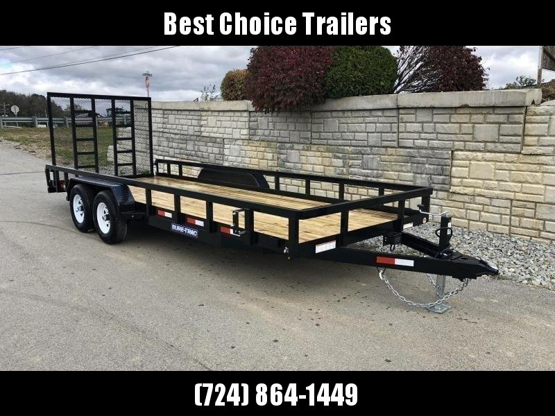 "2019 Sure-Trac 7x18 Tube Top Utility Landscape Trailer 9900# GVW * PROFESSIONAL LANDSCAPE SERIES * HD REINFORCED GATE * 5"" TONGUE & FRAME * 7K JACK * 2X3"" TUBE TOP RAIL"