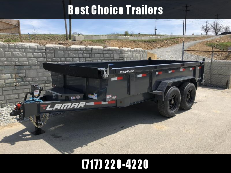 2018 Lamar 7x14' Dump Trailer 14000# GVW - DELUXE * TARP * RAMPS * SPARE TIRE & MOUNT * 14-PLY TIRE UPGRADE *  12K JACK *  CHARCOAL WITH BLACK WHEELS * OIL BATH HUBS