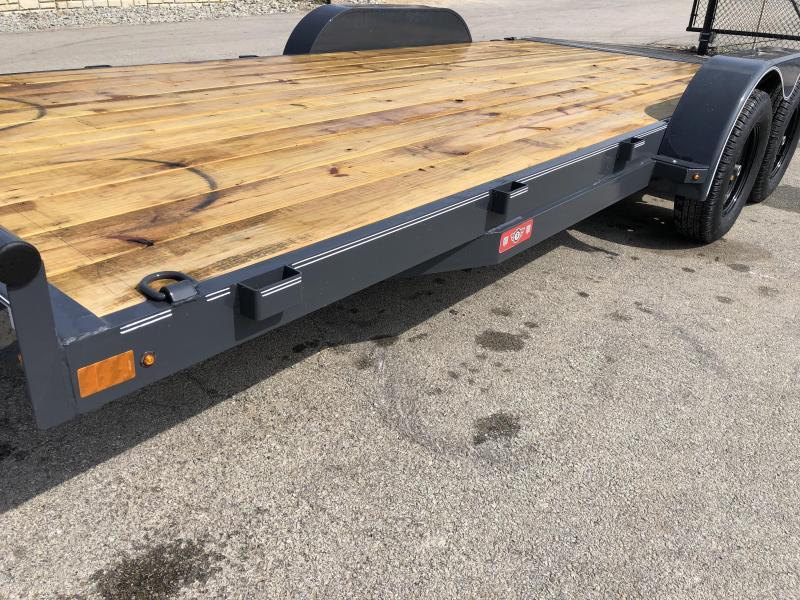2019 Lamar 7x18 7000# Wood Deck Car Hauler Trailer * ADJUSTABLE COUPLER * DROP LEG JACK * REMOVABLE FENDERS * EXTRA STAKE POCKETS * CHARCOAL * 4 D-RINGS
