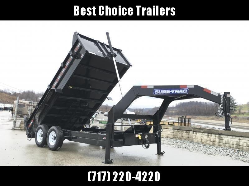 2017 Sure-Trac 7x14' 14000# Low Profile HD GOOSENECK Dump Trailer - TELESCOPIC HOIST * FREE ALUMINUM WHEELS