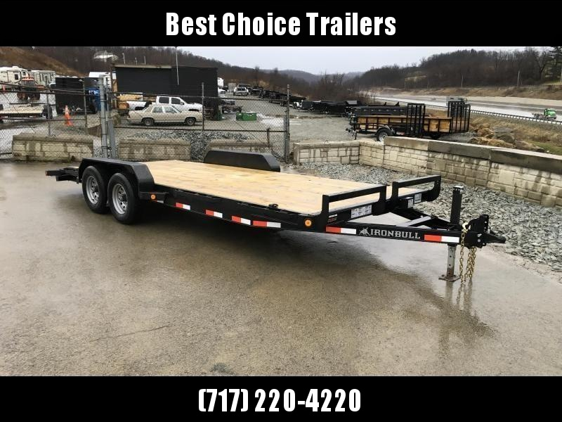 """2018 Ironbull 7x18' Wood Deck Car Hauler Trailer 9990# GVW * OVERWIDTH RAMPS * 16"""" O.C. FLOOR * CHANNEL C/M * RUBRAIL/STAKE POCKETS/PIPE SPOOLS/D-RINGS * CLEARANCE - FREE ALUMINUM WHEELS"""