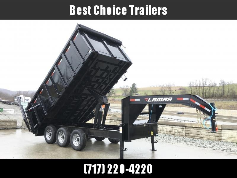 2018 Lamar 8x16' Gooseneck Deckover Dump Trailer 21000# GVW - 4' REMOVABLE SIDES