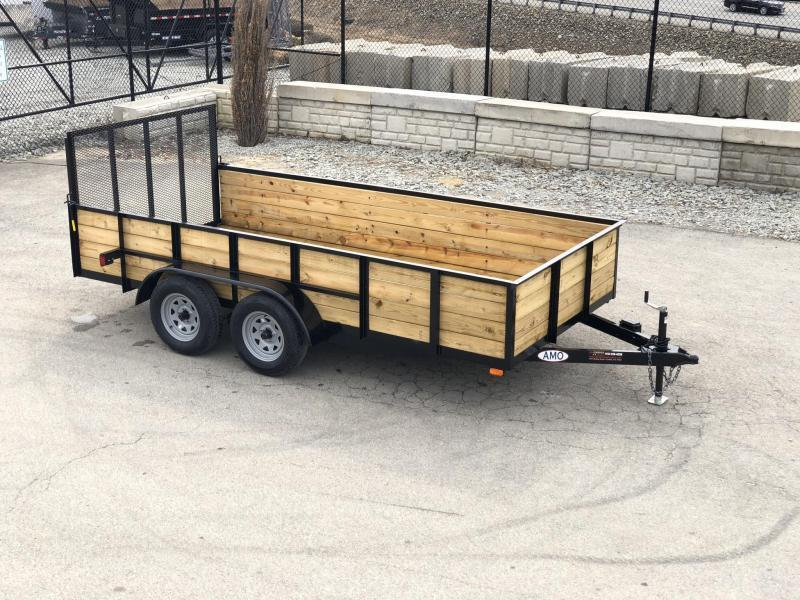 """2018 AMO 76""""x16' Wood High Side TUBE TOP Utility Landscape Trailer 7000# GVW * INCLUDES TOP TOP UPGRADE * CLEARANCE"""