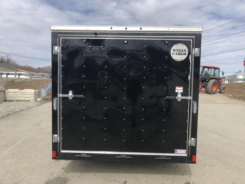 2019 Wells Cargo 7x14' Fastrac Enclosed Cargo Trailer 7000# GVW * BLACK/SILVER * RAMP DOOR * V-NOSE