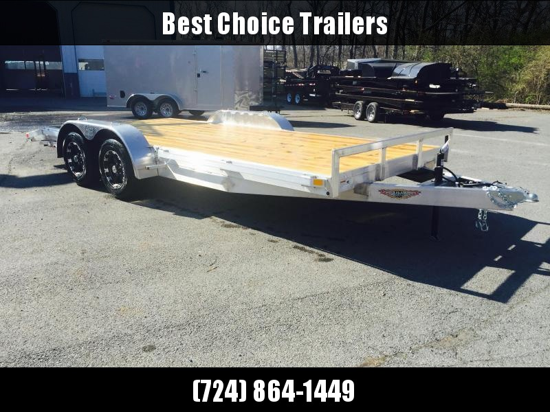 2018 H&H 7x18' Aluminum Car Hauler 7000# GVW ALUMINUM WHEELS HEAVY FRAME * SPARE MOUNT * EXTRUDED BEAVERTAIL