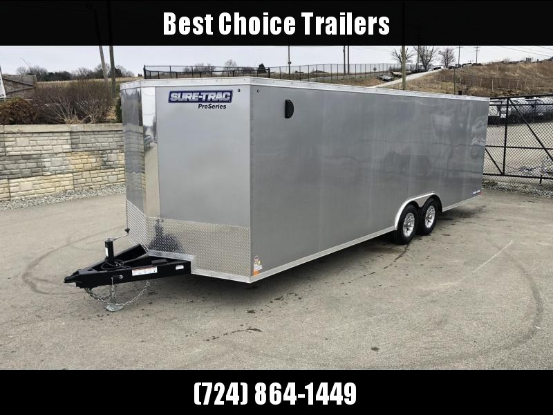 2019 Sure-Trac 8.5x24' Enclosed Car Trailer 9900# GVW * SILVER * 7K DROP LEG JACK