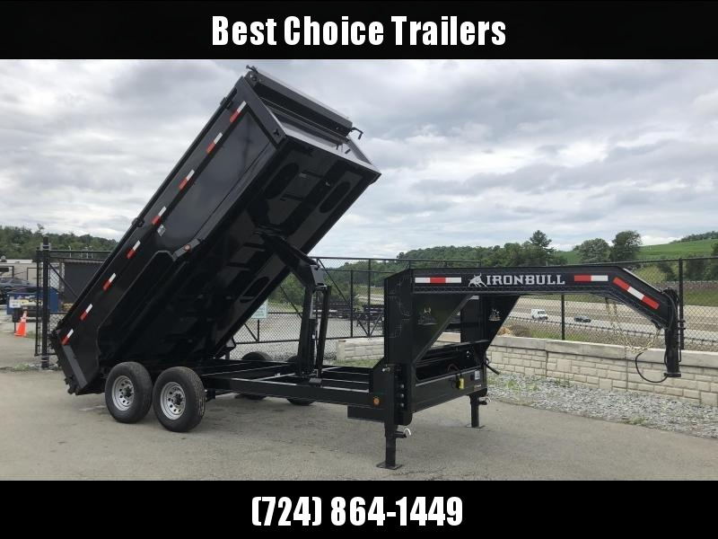 2018 Iron Bull 7x16' Gooseneck Dump Trailer 14000# GVW - 3' HIGH SIDES * CLEARANCE