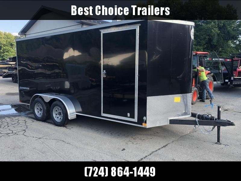 "2019 Wells Cargo 7x16' Road Force Enclosed Cargo Trailer 7000# GVW * BLACK * RAMP DOOR * V-NOSE * .030 * 1 PC ALUM ROOF * 6'6"" HEIGHT * TUBE STUDS * SCREWLESS * ARMOR GUARD"