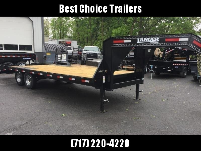 2018 Lamar 102x19+5' Gooseneck Beavertail Deckover Trailer 14000# GVW * CHARCOAL POWDERCOAT * FLIPOVER RAMPS