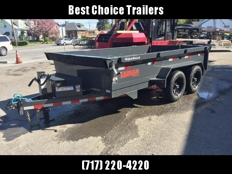 2019 Lamar DM 77x12' 9990# Low Profile Dump Trailer * ADJUSTABLE COUPLER * CHARCOAL  * SPARE MT