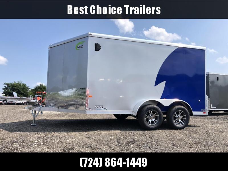 "2020 NEO Trailers 7X12' NAMR Aluminum Enclosed Motorcycle Trailer * NEW BLUE & SILVER * VINYL WALLS * ALUMINUM WHEELS * +6"" HEIGHT"