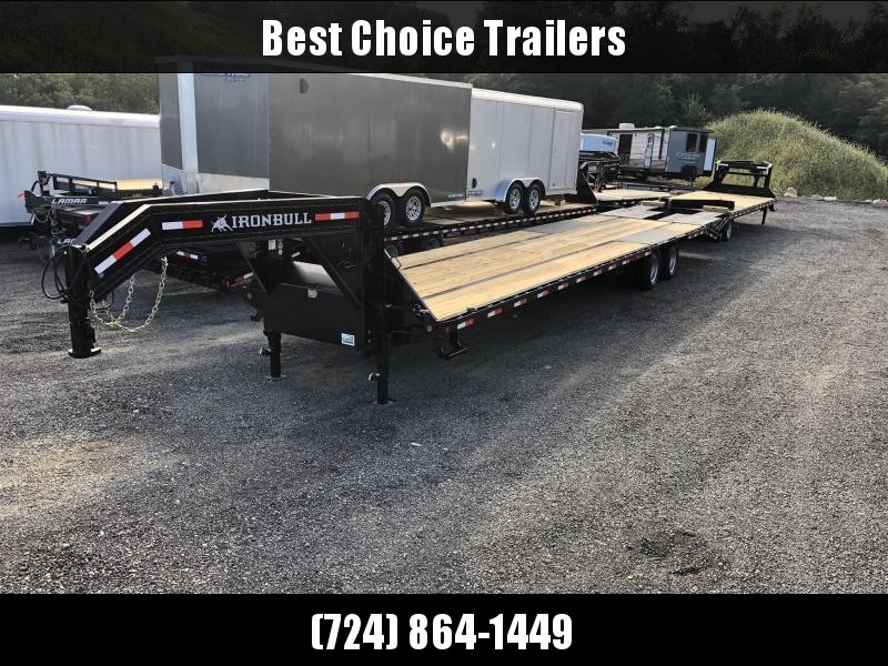 2019 Ironbull 102x35+5' Gooseneck Beavertail Flatbed Deckover 24000# GVW * HOT SHOT * 12K DEXTERS * HDSS SUSPENSION * 8' SLIDE IN RAMPS * PIERCED FRAME * SPARE TIRE * UNDER FRAME BRIDGE