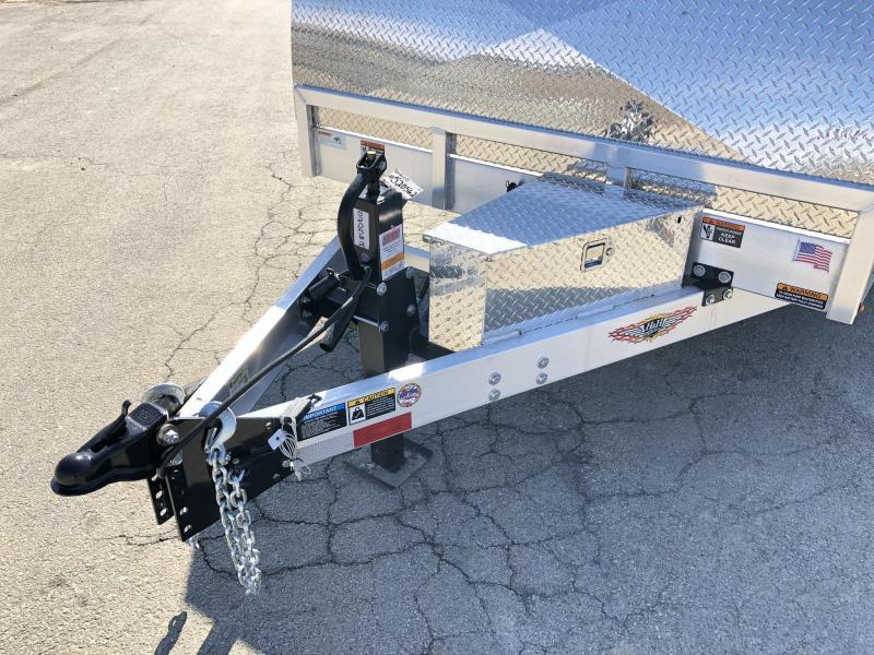 2019 H&H 7x22' Aluminum Power Tilt Equipment Trailer 14000# GVW * DELUXE * TORSION * ROCK GUARD * EXTRUDED FLOOR *  4 SWIVEL D-RINGS * 4 EXTRA STAKE POCKETS * TOOLBOX * WIRELESS REMOTE * SPARE MT * WINCH PLATE * 12K JACK * ADJUSTABLE COUPLER