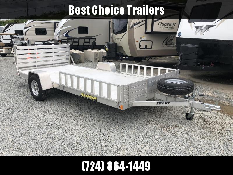 USED 2018 Aluma 7X14' 8114BT Aluminum ATV Utility Landscape Trailer 2990# GVW * SIDE RAMPS * EXTRUDED FLOOR * TORSION AXLES * SPARE TIRE * BI-FOLD GATE