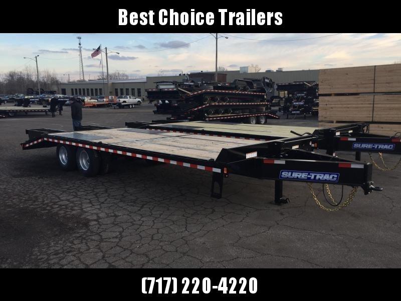 2019 Sure-Trac 102x25+5 22K Pintle Beavertail Deckover Trailer Pierced Frame OAK DECK & RAMPS PAVER TRAILER  * OAK RAMPS/TAIL/DECK * FULL WIDTH RAMPS