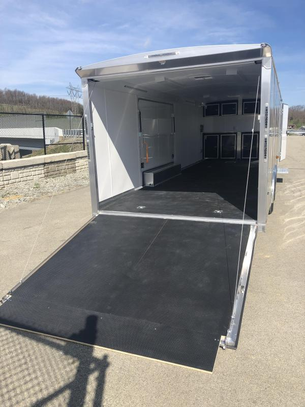 2019 NEO Trailers NACX2685 Liberator Aluminum Enclosed Car Trailer 9990# GVW SILVER * FULL ESCAPE DOOR * NUDO FLOOR/RAMP * 5200# TORSION * BULLNOSE * SPREAD AXLE * DRT REAR SPOILER * NXP RAMP * MANY OPTIONS