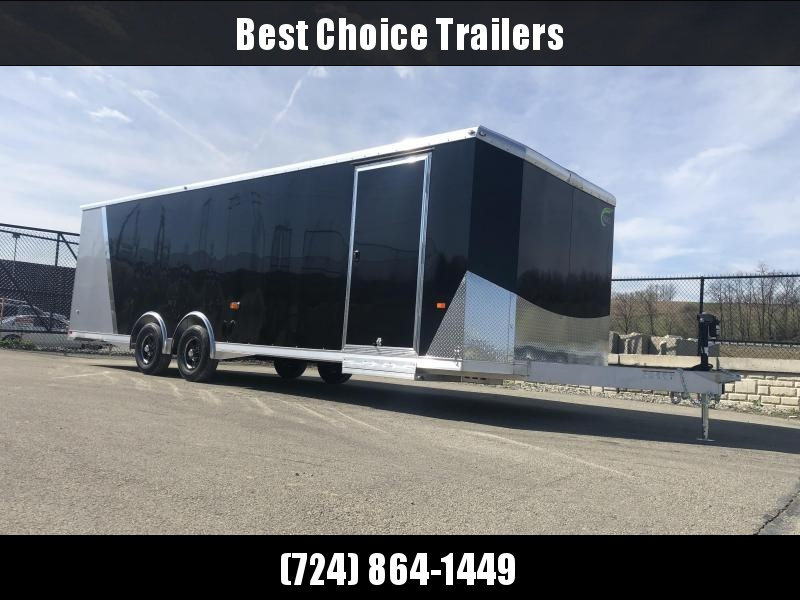 2019 NEO Trailers NACX2685 Liberator Aluminum Enclosed Car Trailer 9990# GVW SILVER * FULL ESCAPE DOOR * NUDO FLOOR/RAMP * 5200# TORSION * BULLNOSE * SPREAD AXLE * DRT REAR SPOILER * NXP RAMP * MANY OPTIONS