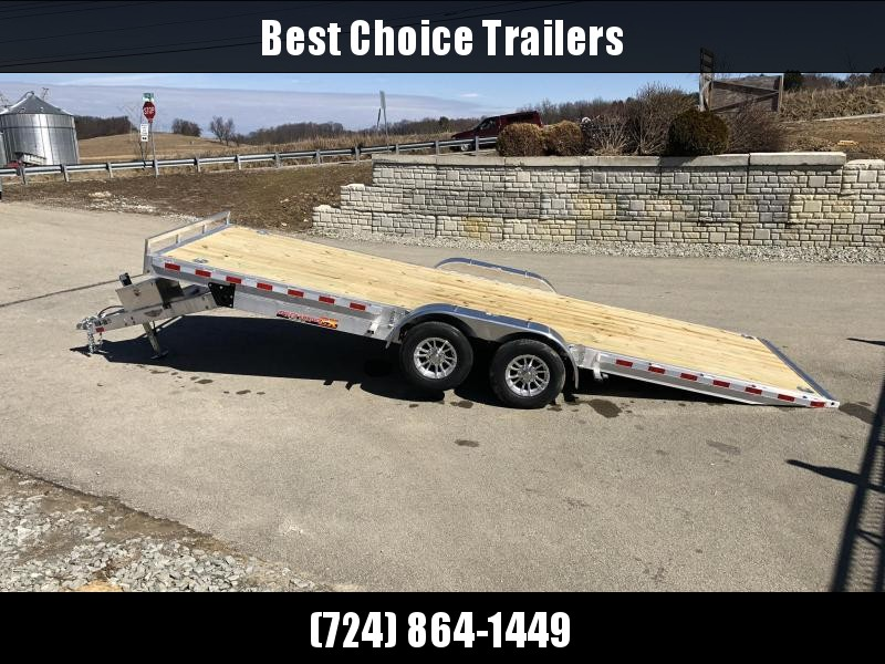 2019 H&H 7x22' Aluminum Power Tilt Car Trailer 9990# GVW * TORSION * 4 SWIVEL D-RINGS * 4 EXTRA STAKE POCKETS * TOOLBOX