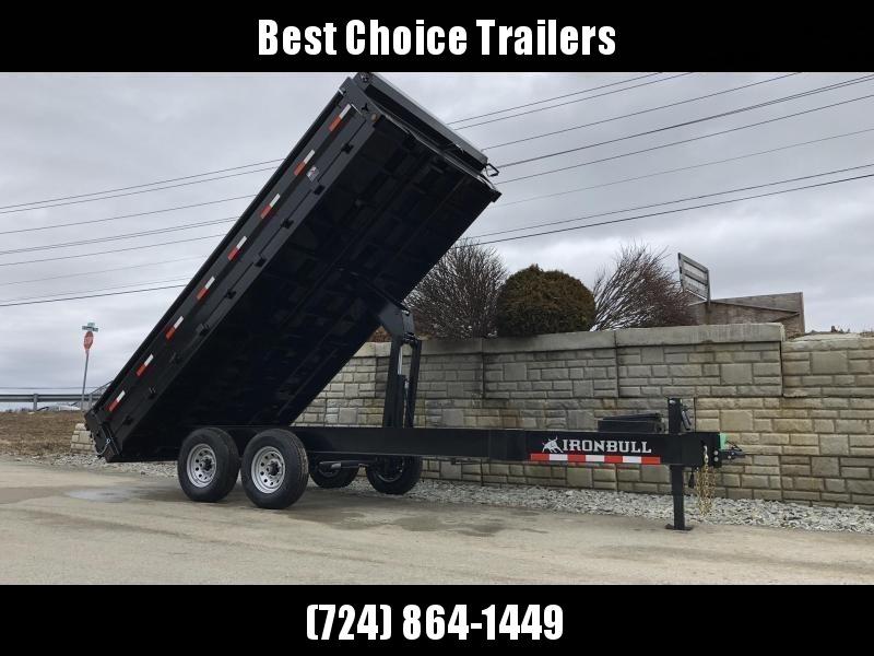 """2019 Iron Bull 8x16' 21000# GVW Deckover Dump Trailer * TRIPLE AXLE * TARP KIT * OVERSIZE 5X20 SCISSOR HOIST * 10"""" I-BEAM FRAME * 12K JACK * HD COUPLER * FOLD DOWN SIDES"""