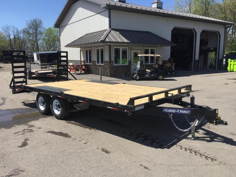 2018 Sure-Trac 102x15+3 9990# Beavertail Deckover Equipment Trailer STAND UP RAMPS