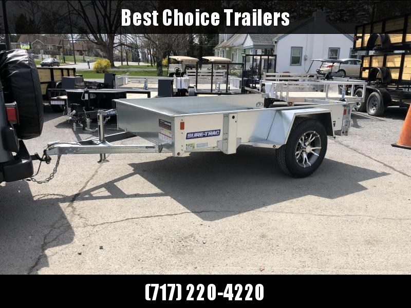 2019 Sure-Trac 5x10' Galvanized High Side Utility Trailer 2990# GVW * CLEARANCE - FREE ALUMINUM WHEELS