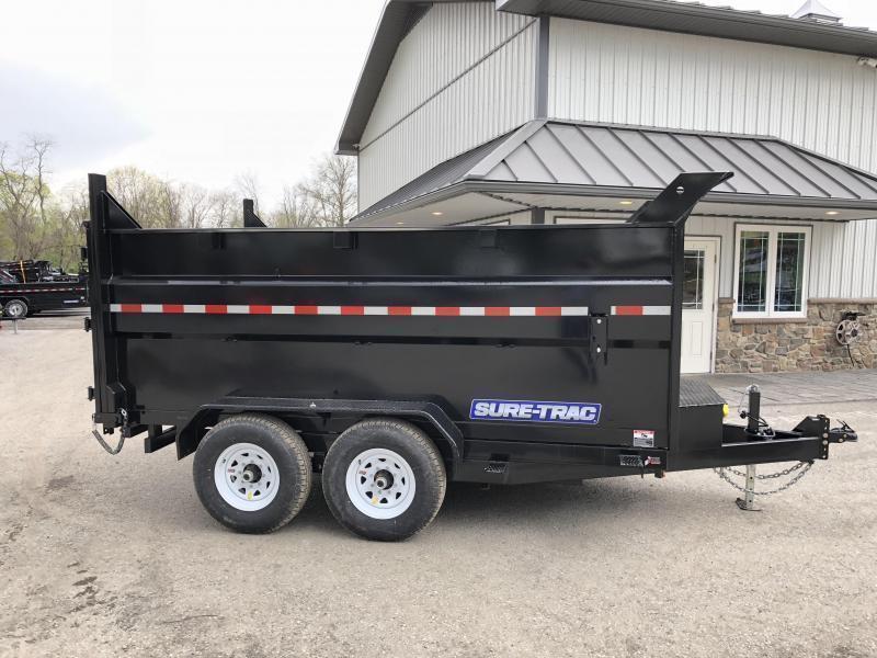 2019 Sure-Trac 7x12' Low Profile Hydraulic Dump Trailer 12000# * 4' HIGH SIDES + BULKHEAD * TELESCOPIC HOIST * 12K JACK * 14000# GVW