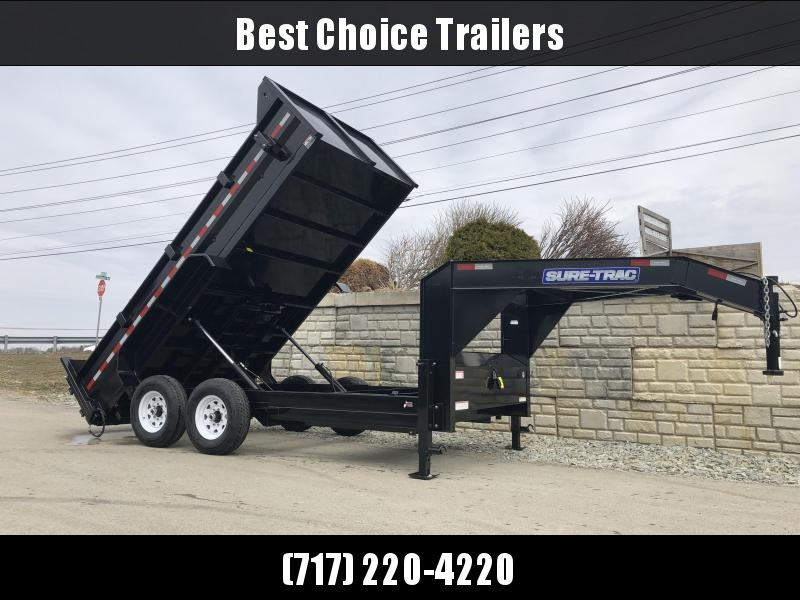 2019 Sure-Trac 7x14' Gooseneck Dump Trailer 14000# GVW * NEW I-BEAM NECK AND FULL FRONT TOOLBOX