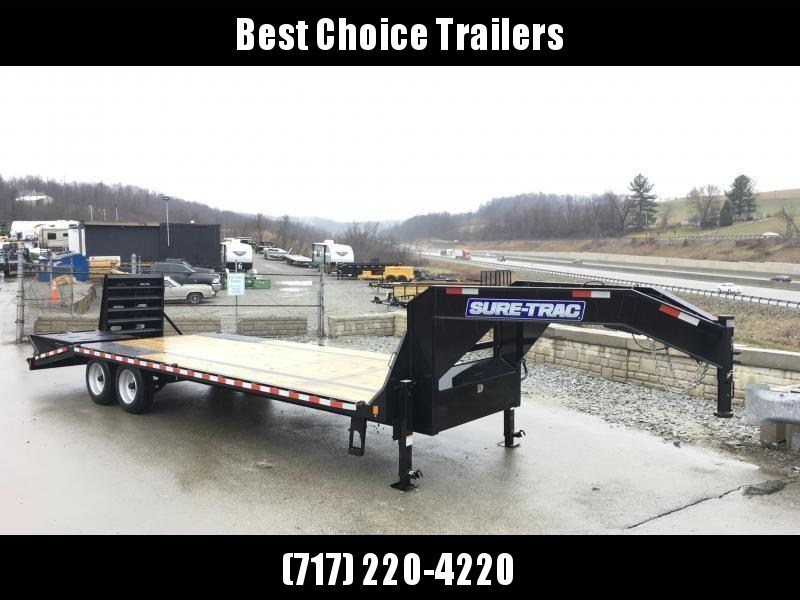2018 Sure-Trac 102x20+5 17600# Gooseneck Beavertail Deckover Trailer 8K AXLE UPGRADE * PIERCED FRAME * FULL WIDTH RAMPS * FREE SPARE TIRE