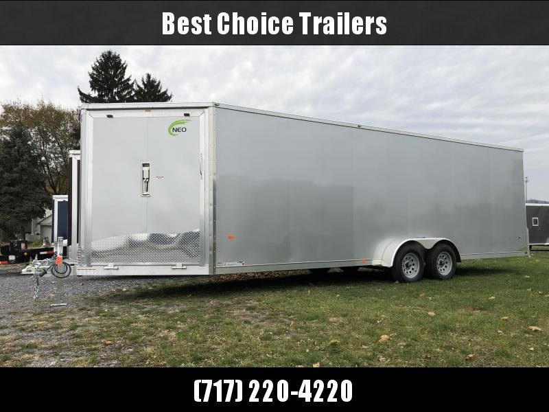 """2019 Neo 7x28' Aluminum Enclosed Snowmobile All-Sport Trailer * 4-SLED * SILVER * FRONT RAMP * NXP LATCHES * FLOOR TIE DOWN SYSTEM * REAR JACKSTANDS * UPGRADED 16"""" OC FLOOR * UPPER CABINET"""