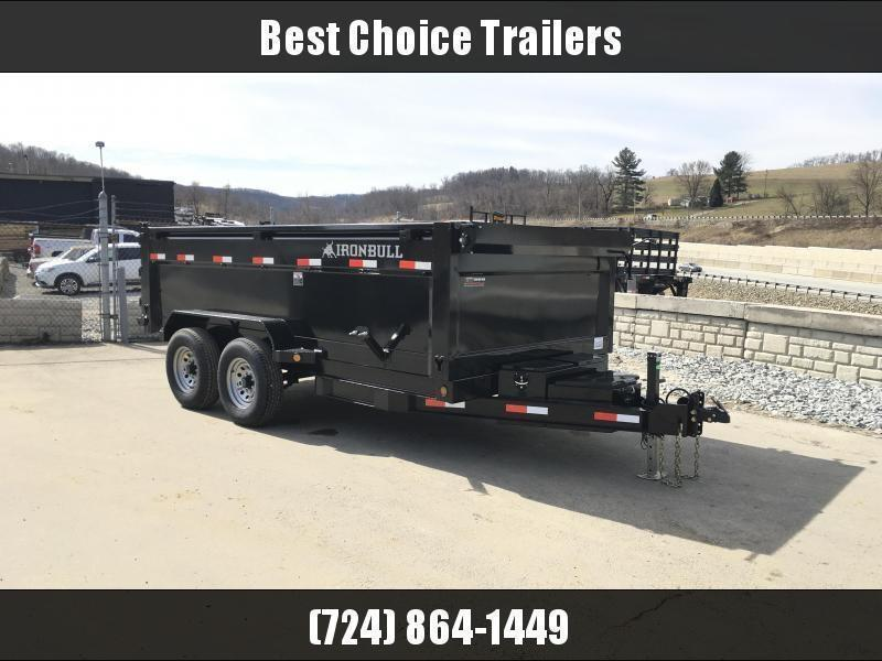 2018 Ironbull 7x14' 3' HIGH SIDES Dump Trailer 14000# GVW RAMPS * TARP * SCISSOR * 2ND TOOLBOX * SPARE MT