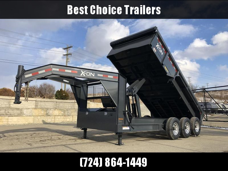 2019 X-on 7x16' Low Profile Gooseneck Dump Trailer 21000# GVW * 7 GA FLOOR * 6x21.5 DUAL TANDEM HOIST * TARP KIT * SCISSOR * 3 WAY GATE * I-BEAM FRAME & NECK * FRONT TOOLBOX * DUAL JACKS