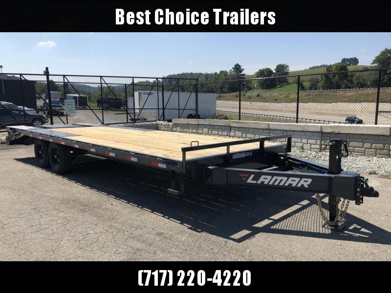 2019 Lamar F8 102x24' Beavertail Deckover Trailer 14000# GVW * FLIPOVER RAMPS * CHARCOAL * POP UP DOVE