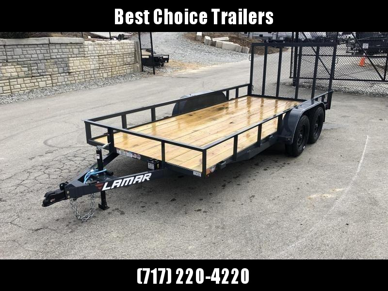 2019 Lamar 7x16' Utility Landscape Trailer 7000# GVW * CHARCOAL * HD GATE W/ SPRING ASSIST