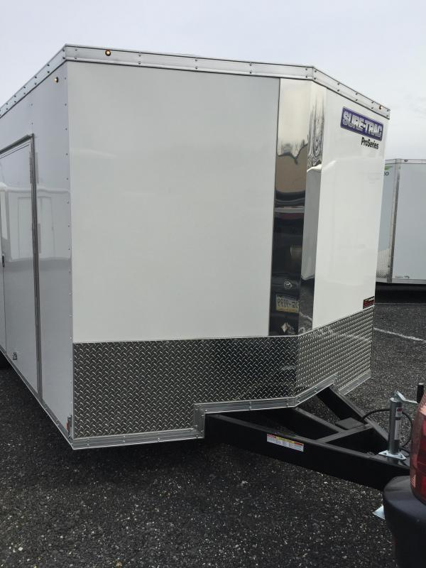 2019 Sure Trac 8.5x24' 9900# STW Commercial Enclosed Cargo Trailer * V-NOSE * RAMP DOOR * WHITE * ALUMINUM WHEELS