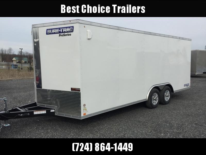 2019 Sure Trac 8.5x24' 9900# STW Commercial Enclosed Cargo Trailer * V-NOSE * RAMP DOOR * WHITE * ALUMINUM WHEELS