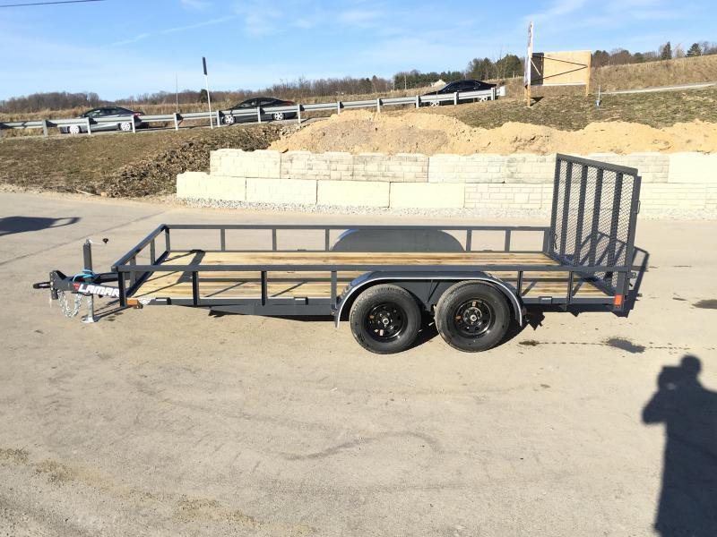 2019 Lamar 7x16' Tube Top Utility Landscape Trailer 7000# GVW DELUXE * TUBE TOP * TUBE GATE * DROP LEG JACK * ADJUSTABLE COUPLER * CHARCOAL * SPRING ASSIST