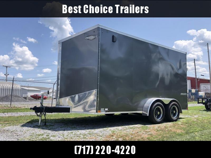 """2019 Impact 7x14' Enclosed Cargo Trailer 7000# * 6'6"""" HEIGHT * ALUMINUM WHEELS * SLANT NOSE * ATP PKG & MORE"""