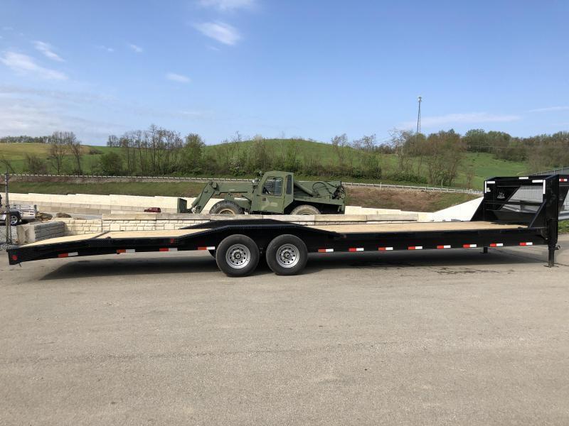 """USED 2018 Ironbull 102x34' Gooseneck Car Hauler Equipment Trailer 14000# GVW * 102"""" Deck * Drive Over Fenders * Extended 4' dovetail * Winch plate"""