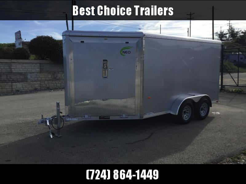 """2019 Neo 7x16' Aluminum Enclosed Snowmobile All-Sport Trailer * 2-SLED * SILVER * FRONT RAMP * NXP LATCHES * FLOOR TIE DOWN SYSTEM * REAR JACKSTANDS * UPGRADED 16"""" OC FLOOR * UPPER CABINET"""