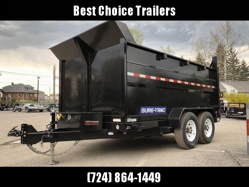 2018 Sure-Trac 7x12' Low Profile Hydraulic Dump Trailer 12000# 4' HIGH SIDES + BULKHEAD * CLEARANCE - FREE ALUMINUM WHEELS