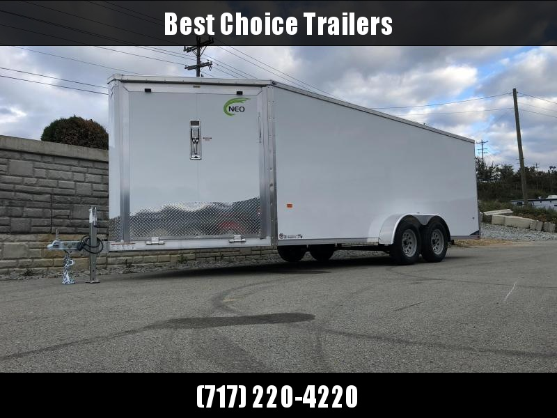 """2019 Neo 7x22' Aluminum Enclosed All-Sport Trailer * WHITE * FRONT RAMP * NXP LATCHES * FLOOR TIE DOWN SYSTEM * REAR JACKSTANDS * UPGRADED 16"""" OC FLOOR * UPPER CABINET * UTV * ATV * Motorcycle * Snowmobile"""
