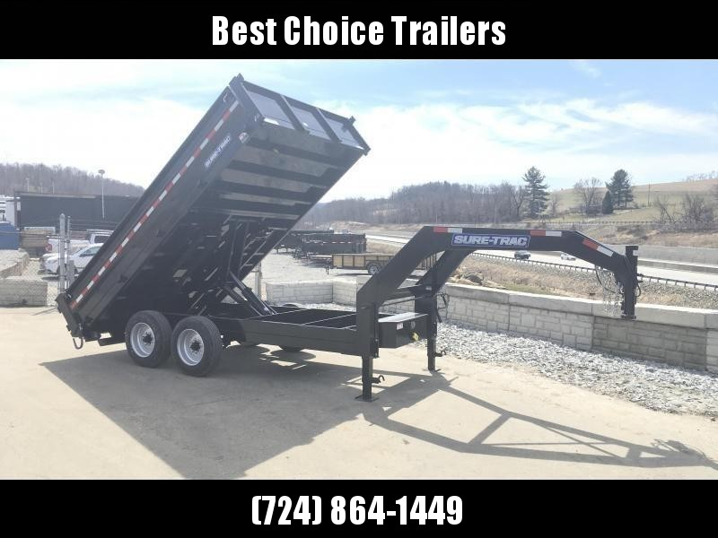 2018 Sure-Trac 8x14' HD Gooseneck Deckover Dump Trailer 14000# GVW - FOLD DOWN SIDES * CLEARANCE - FREE ALUMINUM WHEELS