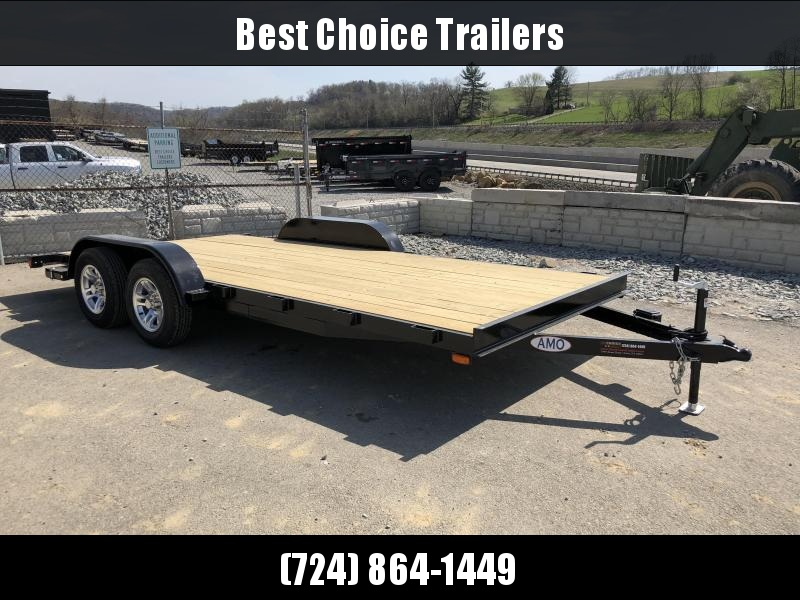 2018 AMO 7x18' Wood Deck Car Trailer 7000# GVW - ALUMINUM WHEELS
